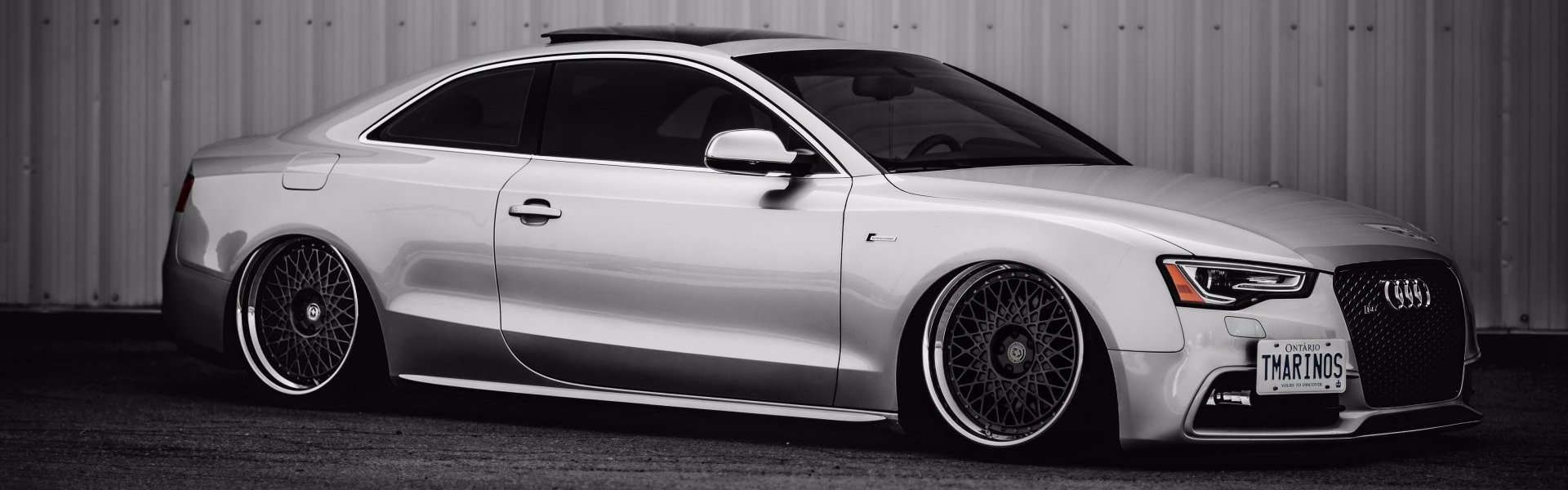 Audi S5 silver stance-тюнинг