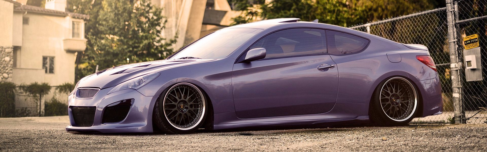 Hyundai Genesis coupe purple stance-тюнинг