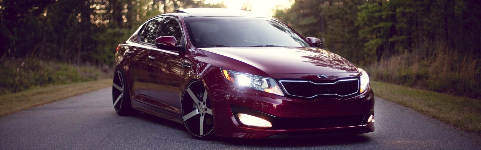 Kia Optima red stance-тюнинг