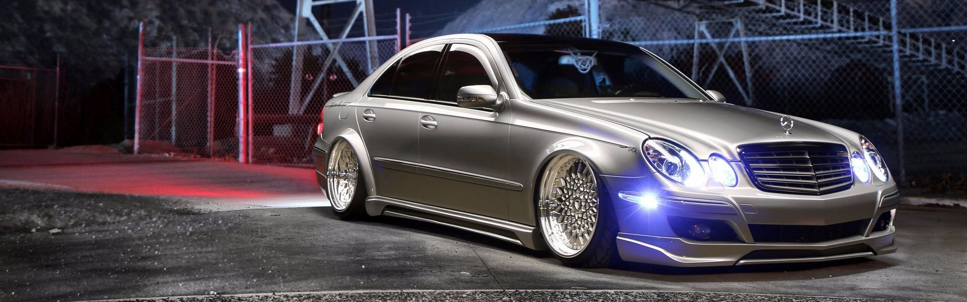 Mercedes-Benz E350 silver stance-тюнинг